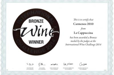 Carmenos 2010 has been awarded a Bronze medal at the 2014 IWC